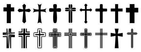 Christian Cross icons set. Black christian cross icon isolated. Vector illustration. Religion cross