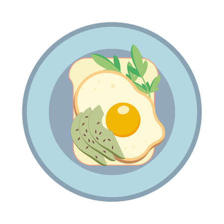 Sandwich with fried egg and avocado. Sandwich on a plate. Vector illustration.
