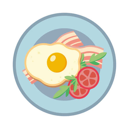 Fried egg on a plate. Fried eggs with bacon and tomato. Vector illustration.