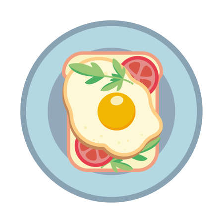 Sandwich with fried egg and tomato. Sandwich on a plate. Vector illustration. 向量圖像