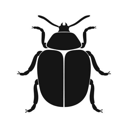 Colorado beetle vector icon. Black silhouette of colorado beetle. Insect icon isolated. Vector illustration. Colorado beetle   in flat style