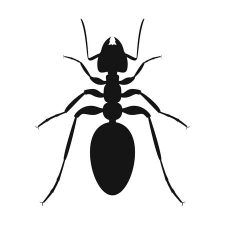 Ant vector  . Insect icon isolated. Black silhouette of ant. Vector illustration. Ant icon in flat design 向量圖像