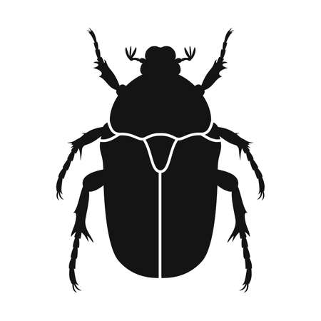 Chafer vector icon. Black silhouette of chafer beetle. Insect icon isolated. Vector illustration. Chafer beetle   in flat style