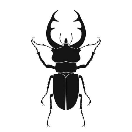 Stag beetle vector icon. Insect icon isolated. Black silhouette of stag beetle. Vector illustration. Stag beetle   in flat style