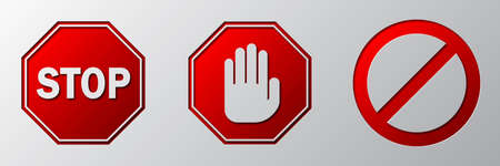 STOP signs set. Red origami STOP signs. Vector illustration. Warning signs. Paper art design