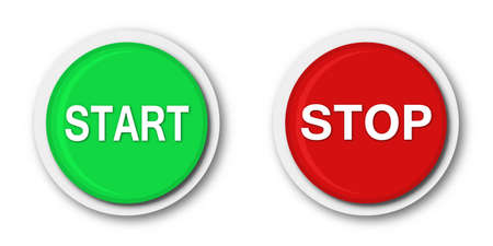 Start and stop buttons. Vector illustration. Round web buttons isolated 向量圖像