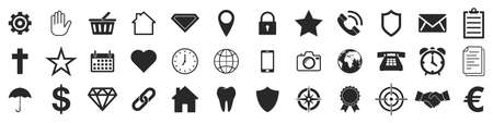 Popular web icons. Set of black isolated icons. Conceptual icons in flat design. Vector illustration 版權商用圖片 - 155511093