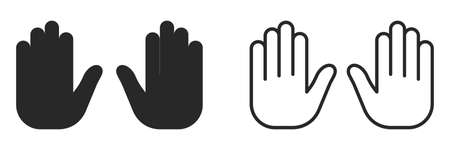 Stop Hand icons set isolated isolated. Linear blocked Hand icon in flat style. Vector illustration.