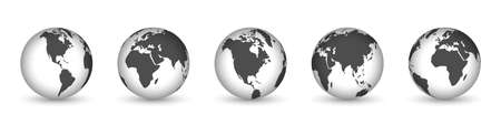 Earth globe icons isolated. World map icons. Hemispheres of earth with a different continents. Vector illustration. 版權商用圖片 - 155511848