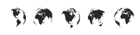 Earth globe icons isolated. World map icons. Hemispheres of earth with a different continents. Vector illustration. 向量圖像