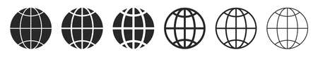 Globe flat icons. Vector illustration. Symbol of Earth. Linear planet icons set. World symbol isolated 版權商用圖片 - 155511853