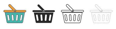 Set of shopping basket icons. Shopping basket icon in flat design. Vector illustration. Black icons isolated. 向量圖像