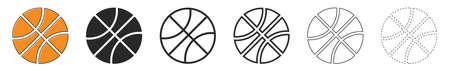 Basketball ball icons. Set of basketball ball symbols on white background. Vector illustration. Basketball ball isolated.