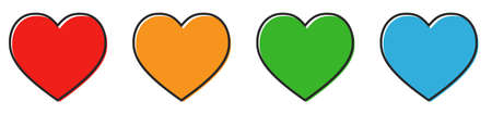 Heart vector icons. Set of love symbols on white background. Vector illustration. Concept of love 向量圖像