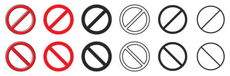 Set of prohibition signs of different thicknesses. Vector illustration. Stop symbol isolated. Red ban icon