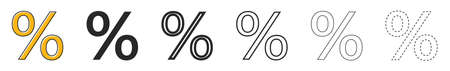 Percent vector icon. Set of percent symbols on white background. Vector illustration. Concept of sale