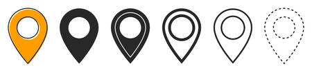 Set of location icons in flat style. Black navigation icon. Map pointer icon isolated. Vector illustration.