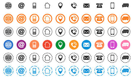 Contact us icons set. Vector illustration. Social media network icons in flat design. Communication icons isolated. Smartphone, mobile, location pin, globe, mail. 版權商用圖片 - 155511877