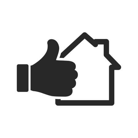House icon and hand with thumb up isolated on white background. Vector illustration. Thumb up with house icon in flat design 版權商用圖片 - 155511885
