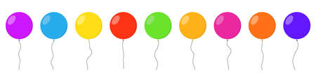 Balloons set. Balloon icons isolated. Colorful helium balloons in flat design. Vector illustration