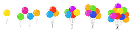 Balloons bunch isolated. Balloons bunch set. Groups of colorful helium balloons. Vector illustration 向量圖像