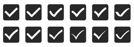 Set of check mark icons isolated on white background. Vector illustration. Black approved icon in flat design 版權商用圖片 - 155511889