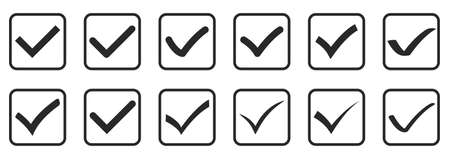 Set of check mark icons isolated on white background. Vector illustration. Black approved icon in flat design