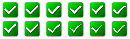 Set of check mark buttons isolated on white background. Vector illustration. Green approved icons with shadows