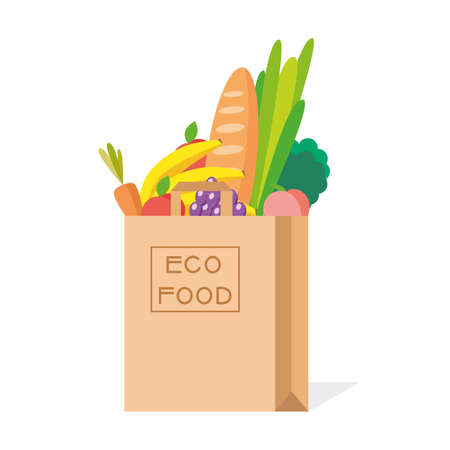 Paper bag with fresh food. Eco Food in a paper bag on white background. Vector illustration. 向量圖像
