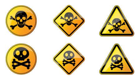 Set of danger signs. Vector illustration. Warning symbols with human skull. Yellow hazard sign