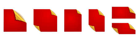 Set of red stickers. Red square stickers. Vector mockups. Red stickers isolated 向量圖像