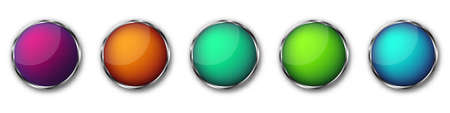 Buttons with chrome frame. Vector illustration. Chrome frame buttons. Set of colorful round buttons 版權商用圖片 - 155511952