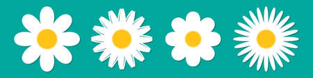 Flowers vector icons set. Color flower icons in flat style. Vector illustration.