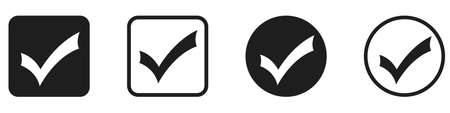 Set of check mark icons isolated on white background. Vector illustration. Approved icon in flat design
