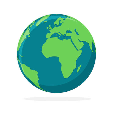 Earth globe icon isolated. World map icon. Color hemisphere of earth. Vector illustration. 版權商用圖片 - 155511958