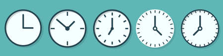 Set of Time and Clock icons in flat style. Time icons isolated. Clock icons. Vector illustration. 向量圖像