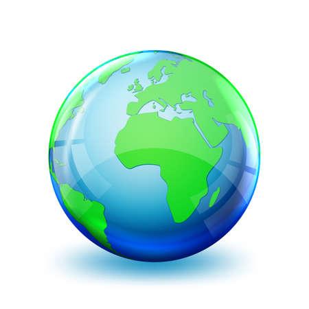 Earth globe icon isolated. 3D globe. Glossy world map. Vector illustration.