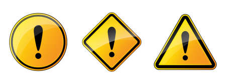 Set of warning signs. Danger icons isolated. Vector illustration. Exclamation point 版權商用圖片 - 155511963