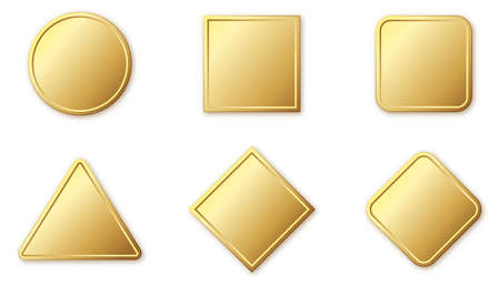 Set of gold banners. Glossy frames or badges with shadows. Vector illustration. Empty gold plates isolated. 版權商用圖片 - 155511965