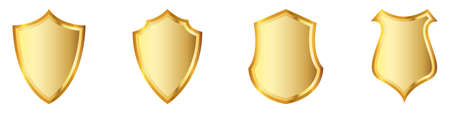 Set of gold shields. Shields icons isolated. Vector illustration. Gold symbol of secure 版權商用圖片 - 155511987
