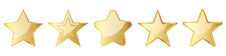 Set of gold stars. Glossy stars icons isolated. Vector illustration. Gold symbol of star