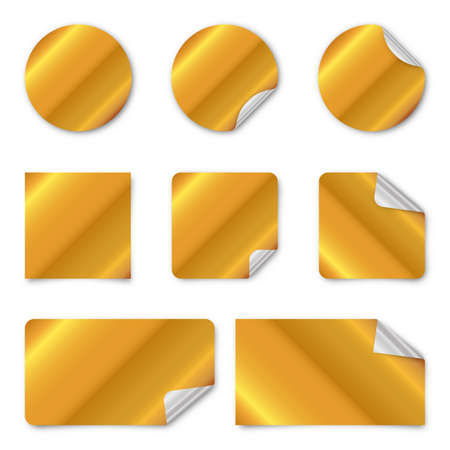 Set of gold paper stickers. Vector illustration. Blank paper banners with shadow. Gold paper stickers 向量圖像