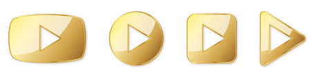 Set of gold play buttons. Play icons isolated. Vector illustration. Gold play symbol 向量圖像