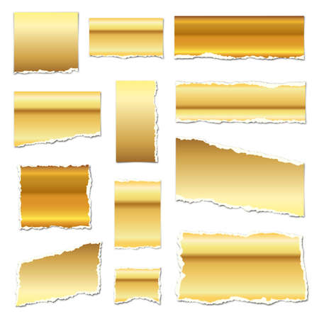 Gold torn paper. Torn paper scraps with shadows. Golden paper pieces isolated. Vector illustration. Ripped paper strips