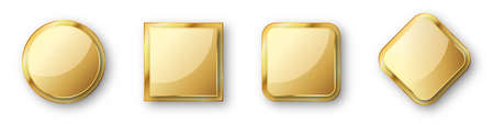 Set of gold banners. Glossy frames or badges with shadows. Vector illustration. Empty gold plates isolated.