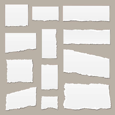 White torn paper. Torn paper scraps with shadows. Paper pieces isolated. Vector illustration. Ripped paper strips 向量圖像
