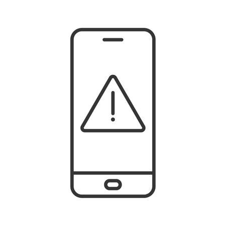 Smartphone with notice symbol. Alarm sign on the device screen. Black linear icon isolated. Vector illustration. Smartphone with caution symbol