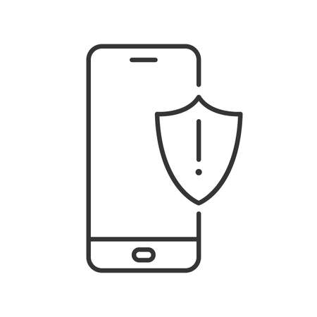 Smartphone with shield icon. Alarm sign on the device screen. Black linear icon isolated. Vector illustration. Smartphone with protection symbol