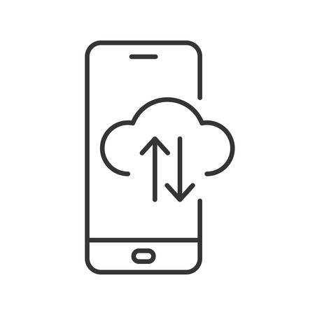 Smartphone with cloud icon. Cloud computing technology icon. Black linear icon isolated. Vector illustration. Info exchange through cloud service
