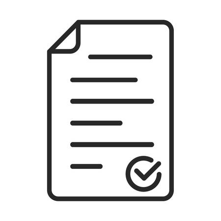Black Checklist icon isolated. Vector Checklist symbol in flat design. Approval document linear icon